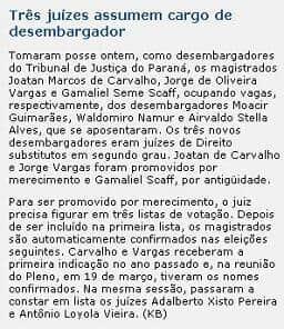 Jornalista Katia Brembatti escreve na Gazeta do Povo sobre promoção de juízes por merecimento ao cargo de desembargador