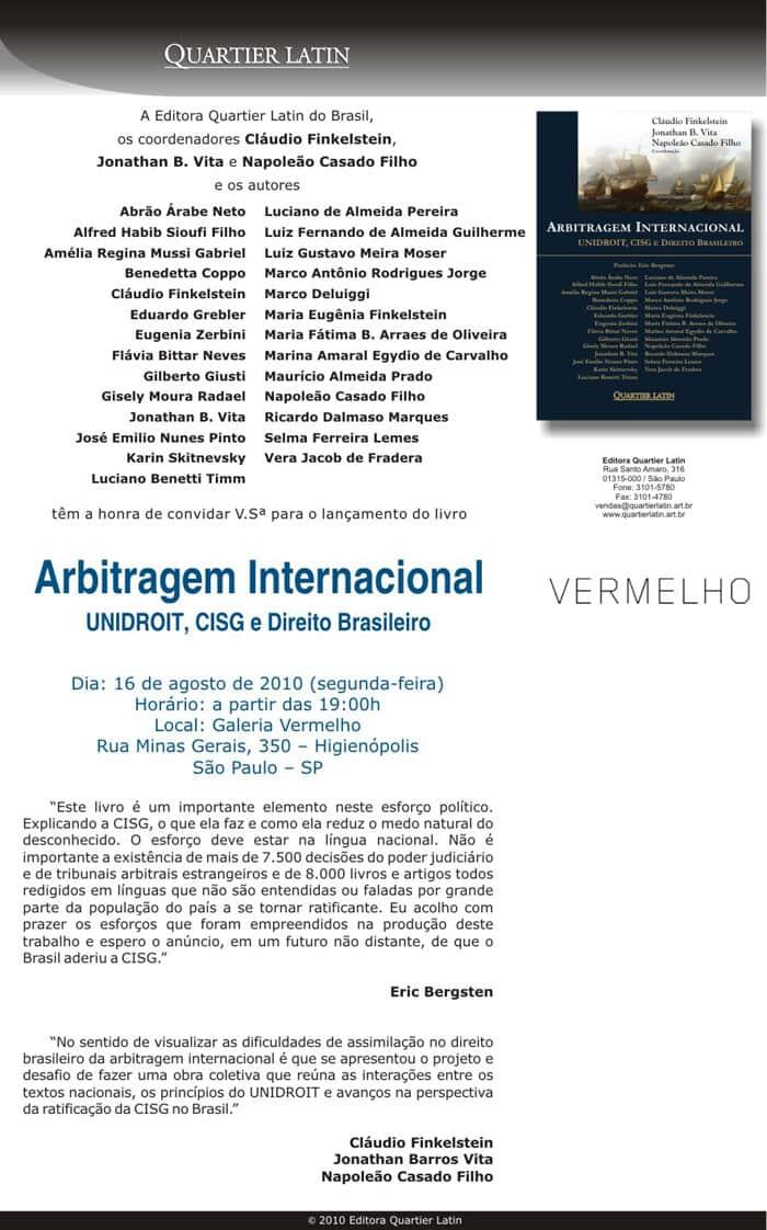 """Lançamento da obra """"Arbitragem Internacional: UNIDROIT, CISG e Direito Brasileiro"""""""