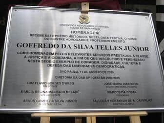 Prédio ocupado pela Ordem paulista recebe o nome do Mestre Goffredo da Silva Telles Jr.