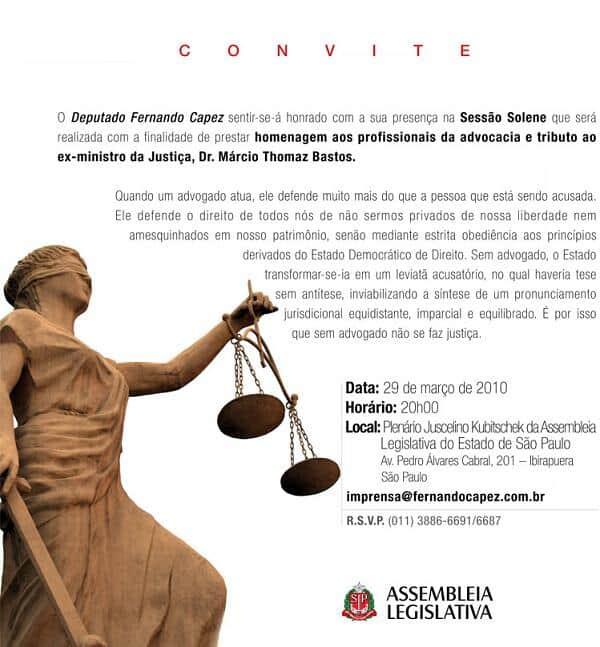 Homenagem aos profissionais da advocacia acontece hoje, na ALESP