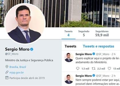 """Sergio Moro cria conta no Twitter: """"Quero explicar aqui o projeto de lei anticrime"""""""