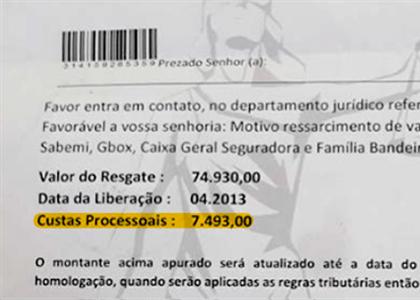 Golpistas pedem dinheiro de custas para liberar valores de suposta ação indenizatória